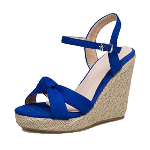 Damen Espadrille Sandalen Sommer Knöchelriemen Peep Toe Platform Wedges High Heels Mode Lässig Open Toe Dicke Bottom Vacation Schuhe Größe 35-42