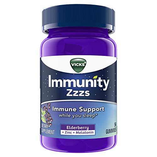 Vicks Immunity ZZZs, Elderberry, Melatonin, and Antioxidant Zinc, Immune Support, Naturally Fall Asleep, 56 Gummies