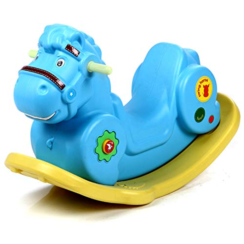 Cheval à Bascule en Plastique Jouet âge des Enfants Petit Cheval en Bois bébé bébé Cheval à Bascule Cadeau d'anniversaire avec de la Musique (Couleur : Bleu)
