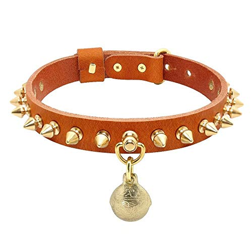 Beirui Spiked Genuine Leather Dog Collar with Copper Studded - Superior Rivet Brown Dog Collars with Bell - Adjustable Basic Dog Collar Fit Pitbull,French Bulldog,M(Neck 14-16.5')
