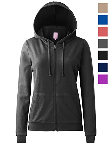 Regna X Women's Long Casual Loose fit Pullover Zip up Hoodie Jacket Black L