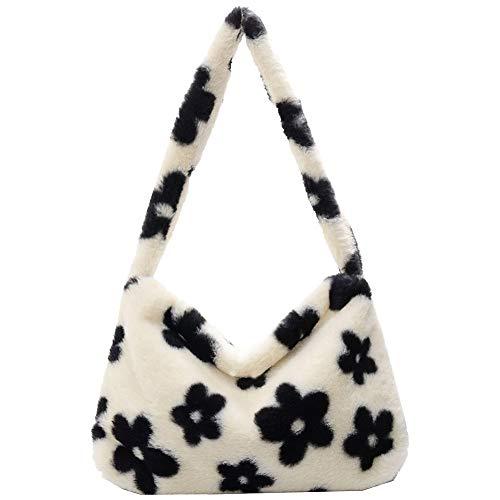 KANUBI Umhängetaschen, Plüschhandtaschen, Handtaschen, Blumenkupplungen, flauschige Handtaschen, Geldbörsen unter den Armen, Umhängetaschen, süße Damenhandtaschen mit Blumenmuster (White)