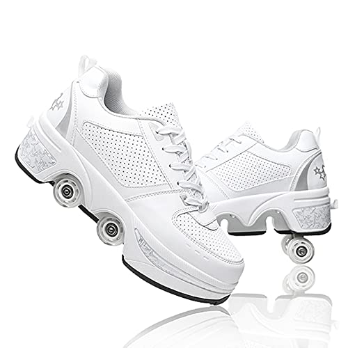 Double-Row Deform Wheel Deformation Automatic Walking Shoes Invisible Roller Skate 2 in 1 Removable Pulley Skates Skating (White Silver, US8.5)