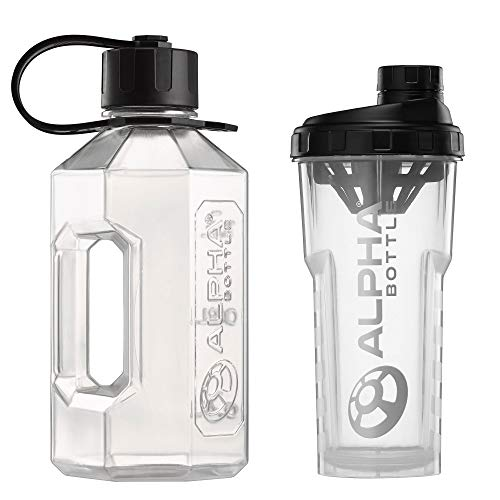 Alpha Bottle XL + Alpha Bottle 750 V2 – Anti-Bacterial BPA and DEHP Free Protein Shaker with BioCote Technology. Ideal For Gym, Dieting, Bodybuilding Half Gallon 100% Food safe materials (Clear)