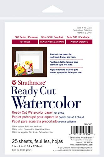 Strathmore 140-305 Ready Cut Watercolor, Hot Press, 5' x 7', White, 25 Sheets