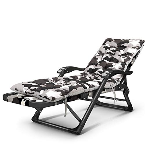 Chaise pliante chaise déjeuner pause chaise paresseux retour à la maison multi-fonction lit pliant été loisirs plage chaise composite Oxford (Couleur : Camouflage cotton pad)
