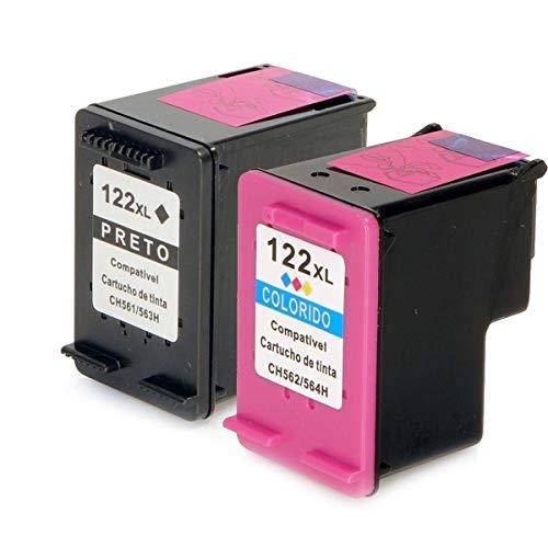 Kit Cartucho de Tinta Compatível 122xl 122 Preto 12ml + Colorido 11ml para Impressora 1000 1050 1055 2000 2050 3000 3050A