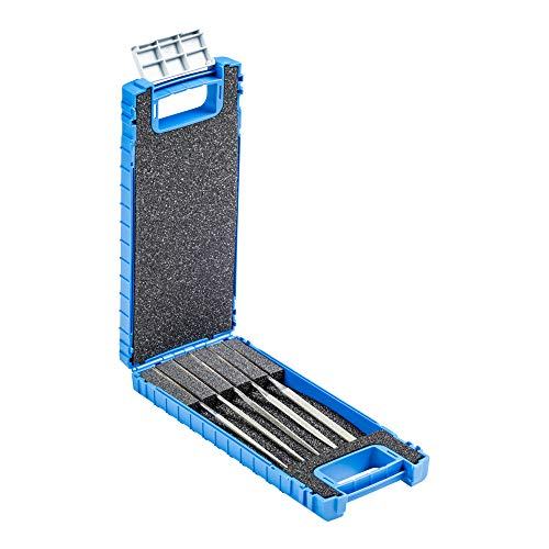 PFERD Diamant-Nadelfeilen-Set, 5-teilig, Korngröße D 126, 140mm, in bruchfester Kunststoffbox, 15842052 – Für den universellen Einsatz im Werkzeugbau