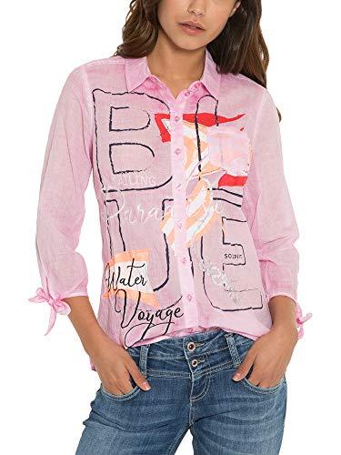 SOCCX Damen Bluse Oil Dyed mit Artwork