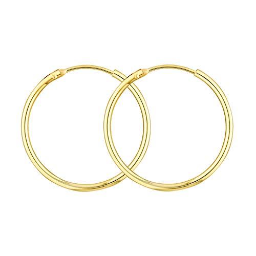 Damen Creolen Echt Gold 25 mm 585 aus Gelbgold, Ohrringe Gold mit Stempel, Breite 1,5 mm, Gewicht ca. 0,9 g, Made in Germany
