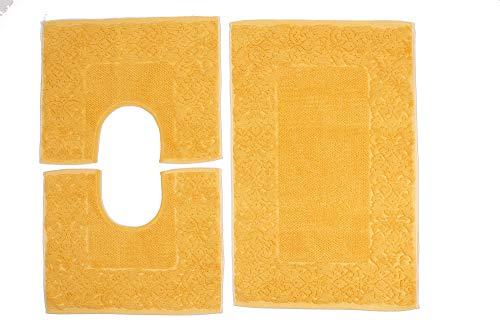 HomeIt - 3-delig katoenen badmat Set - Elegante Terry Mat Set: 1 badmat 60X90 2 Girowater/Girobidet - Machine wasbaar - Klassieke stijl - Made in Italy