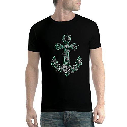avocadoWEAR Ancla del Barco Marinero Eléctrico Hombre Camiseta Negro 2XL