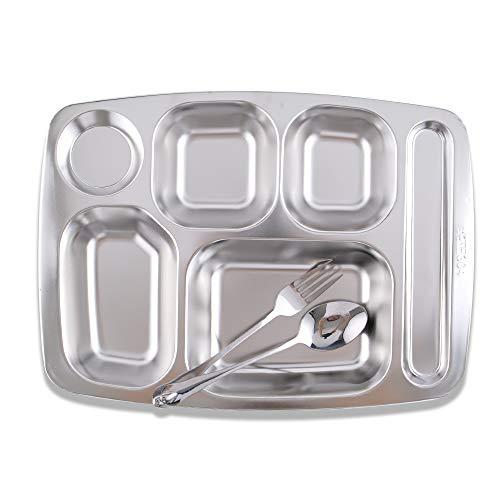 Super Leader - Plato rectangular dividido de acero inoxidable con 4 compartimentos, bandeja para cafetería y comida para senderismo, camping, picnic, uso diario y en casa - 3 piezas