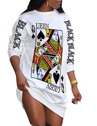 Ninimour Women's Poker Letter Print Long Sleeve Casual Dress White M