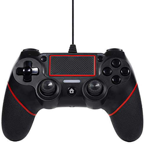 Sefitopher PS4 Wired Controller Compatible for Playstation 4/pro/Slim/PC/Laptop with Functions Such as Vibration, Colored LED Indicator, Double Vibration and Anti Slip Grip,6.5ft Cable Length