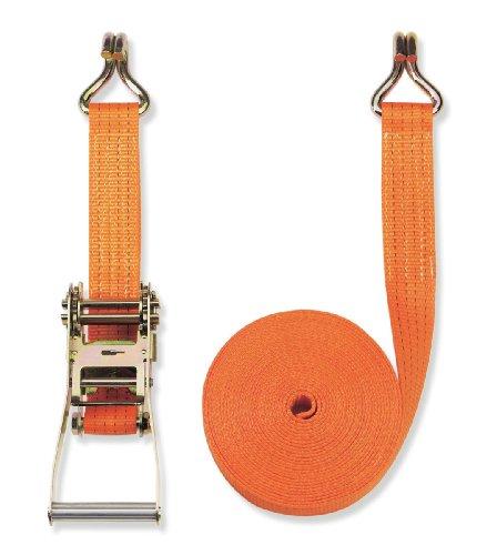 Braun Spanngurt, zweiteilig, Farbe orange, 8 m Länge, 50 mm Bandbreite, mit Ratsche und Spitzhaken, 4000 daN Umreifung/2000 daN gerader Zug