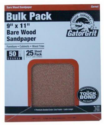 Ali Industries 4227 25-Count 9 X 11-Inch 100-Grit Garnet Sandpaper - Quantity 10 Sandpaper, Garnet -