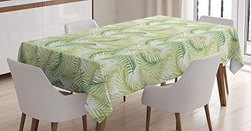 ABAKUHAUS Hoja de Palma Mantele, Ambiente Fresco, Resistente al Agua Lavable Colores No Destiñen Personalizado, 140 x 240 cm, Helecho Verde pálido Verde