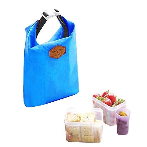 Kühltasche Klein-3 Farben Pure Farben Kühltasche Picknicktasche Lunchtasche Wasserfest, Tragbare Picknicktasche Isolierte Lunch-Tasche für Picknick Strand Mittagessen Arbeit Einkaufs (Blau)