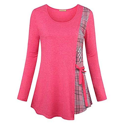 VEMOW Sommer Herbst Elegant Damen Oberteil Langarm O Neck Printed Flared Floral Beiläufig Täglich Geschäft Trainieren Tops Tunika T-Shirt Bluse Pulli(A3-Hot pink, 44 DE/XL CN)