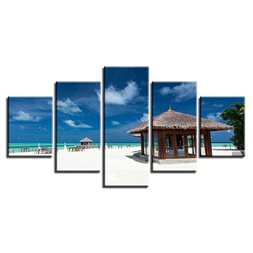 CGMY Dekorative Malerei Mit Rahmen Wandkunst Hd Druck Malerei 5 Stücke Holz Pavillon Und Strand Blauer Himmel Weiße Wolke Seelandschaft Modulare Leinwandbilder Dekor Hause