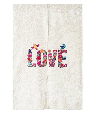ICEGREY geschilderd patroon Japanse Noren deurgordijn met trekstang 85 cm x 120 cm modern 120cm X 85cm liefde.
