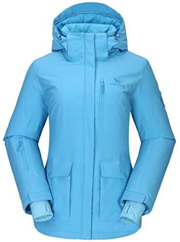 CAMEL CROWN Damen Skijacke wasserdichte Wanderjacke Regenjacken Outdoor Funktionsjacke Winddichte Warmer Mantel Jacke für Winterwandern Ski Sport