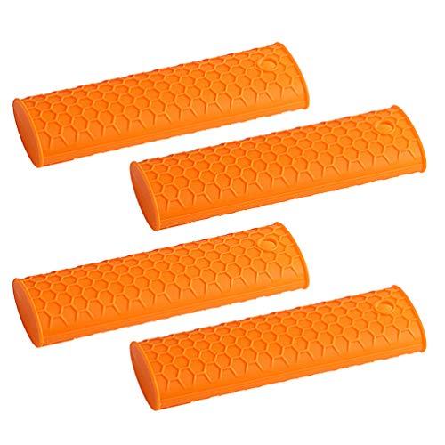 NICEXMAS 4Pcs Silicone Poignée Chaude Manchon de Support Couvercle Résistant à La Chaleur Manchon de Poignée en Caoutchouc pour Poêles à Frire Grils Manchon (Orange)