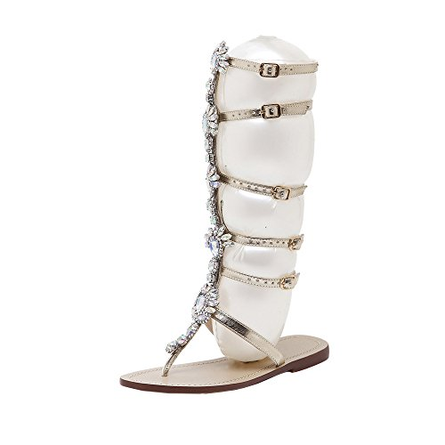 TTMall Bohemian Scarpe Sandali,Scarpe Plateau Donna Estive Scarpe da Donna con Cinturino alla Caviglia con Cinturino alla Schiava in Sandali con Lacci in Bende, Scarpe Appartamento (43, Oro)