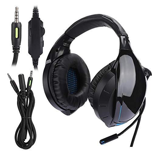 Garsentx Gaming-Headset-PS4-Headset mit Mikrofon, Surround-Sound und RGB-LED-Licht über dem Ohr Kopfhörer-PC-Headset mit Noise Cancelling-Mikrofon für PS4, PC, Xbox One und Smartphones(Blau)