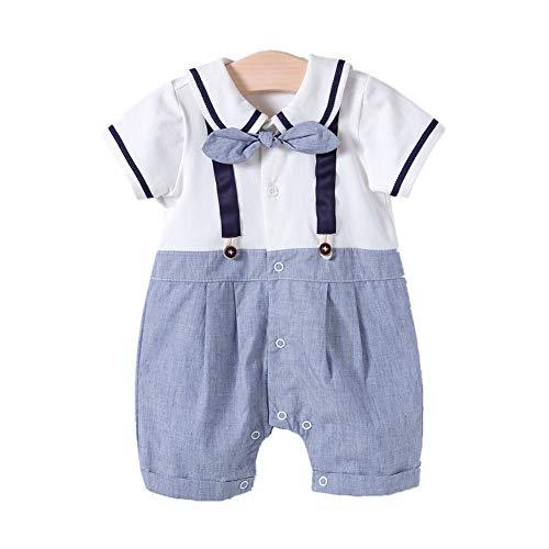 Ango Baby Junge Smoking Strampler Overall Sommer Babykleidung (Blau, 6-9Monate)