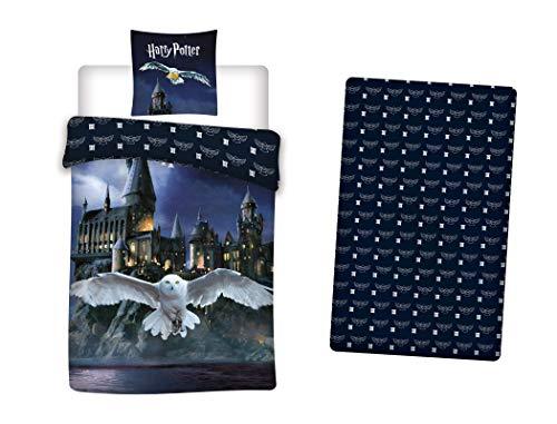 LesAccessoires Harry Potter - Juego de funda nórdica de 140 x 200 cm + funda de almohada + sábana bajera de 90 x 190 cm 100% algodón Hogwarts