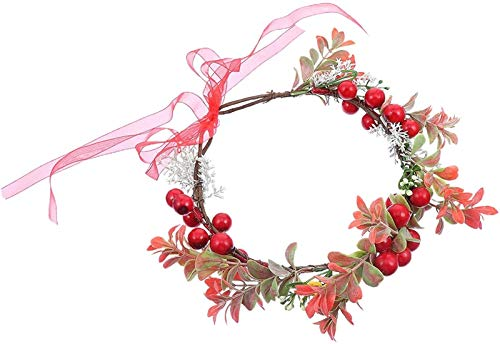 Auoeer Christmas Wreath Headband Berry Garland Headband Holly Berry Head Wreath Garland Hair Hoop Halo New Year Gift For Winter Holiday Christmas