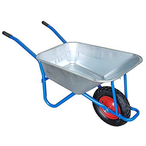 TAHA 100L-180KG Wheelbarrow Garden Wheel Barrow Large Galvanised Pneumatic Tyre