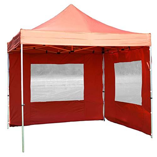 Nexos PROFI Faltpavillon Partyzelt Pavillon 3x3 m mit 2 Seitenteilen - hochwertige Ausführung - wasserdichtes Dach mit PVC-coating - 270 g/m² incl. Tragetasche und Zubehör – Farbe: terracotta