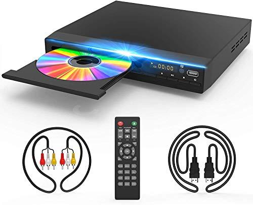 Reproductor de DVD para TV, reproductor de DVD CD con escala HD 1080p, salida HDMI y AV (cable HDMI y AV incluido), sin regiones, conexión coaxial, entrada USB, mando a distancia incluido