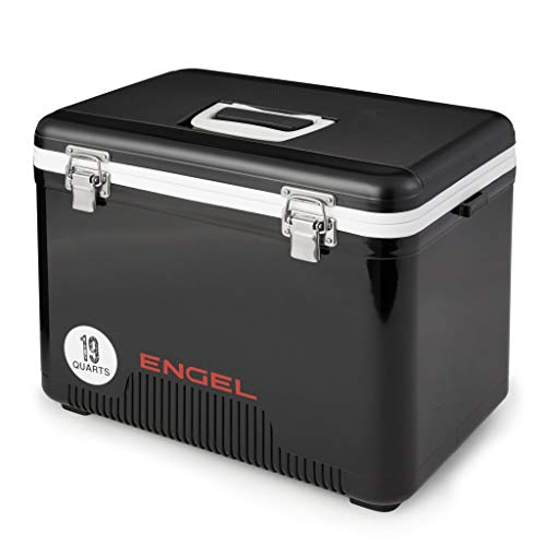 Engel 19 Quart 32 Can Leak Proof Odor Resistant Insulated Cooler Drybox, Black