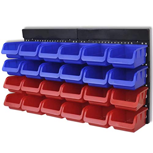 UnfadeMemory Organizador de Herramientas para Pared,Armario Almacenaje Herramientas de Taller,Gavetas de Almacenaje,Plástico Azul y Rojo (24 Cajas)