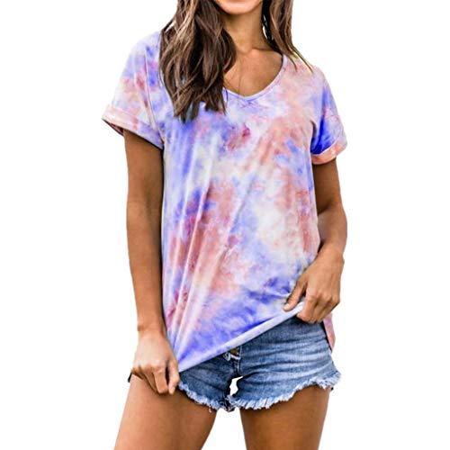 YOYOHO Camiseta de Manga Corta para Mujer, con Cuello en V, Blusa Suelta, Ropa de Calle con Efecto Tie-Dye Degradado - M # Azul