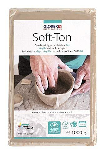 GLOREX 6 8075 201 - Soft Ton weiß 1000 g, natürlicher, besonders weicher und geschmeidiger Ton, lufthärtend und für Brennofen geeignet, sehr gut für Kinder geeignet