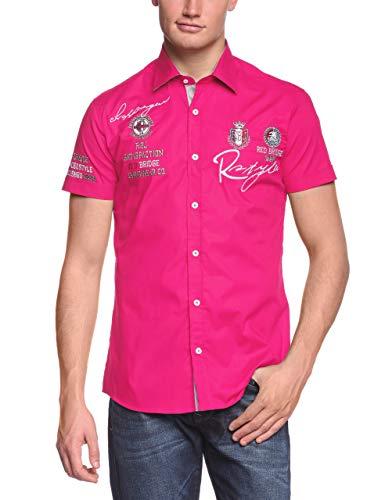 Redbridge Herren Hemd Kurzarm Freizeithemd Regular Fit Tailliert Bestickt R-Style R-2122 (XL, Rosa (Fuchsia))