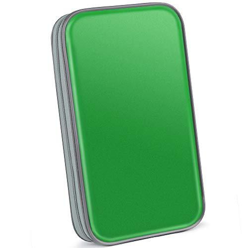 Bageek CD Tasche 80 CD Hüllen DVD Hüllen CD Aufbewahrung DVD Tasche (Mappe zur Aufbewahrung, platzsparend für Auto und Zuhause, Transport-Hüllen) (Grün - 80)