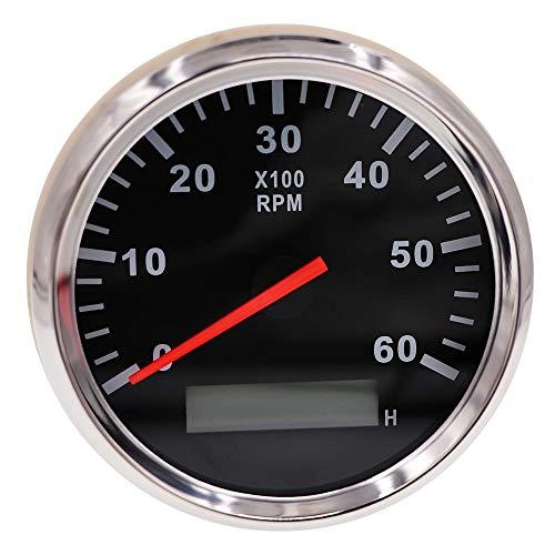 85mm Tachometeranzeige 6000 U/min Marine Tachometer Auto LKW Boot Tachoanzeige Wasserdichter LCD-Stundenzähler Rote Hintergrundbeleuchtung