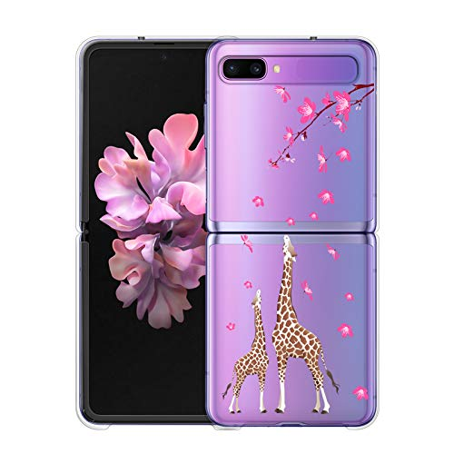 LSL Samsung Galaxy Z Flip 5G Case Clear Peach Blossom and Giraffe Floral Cute Design Pattern Hard PC Shockproof Protection Full Body Protection Wireless Charging Cover for Galaxy Z Flip 5G 6.7 Inch