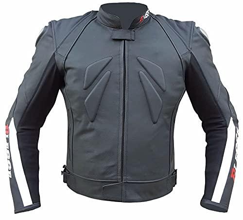 BI ESSE - Giacca da MOTO in pelle uomo, regolabile, Technical Racing, completo di Protezioni CE (Nero / Rosso / Bianco, S)