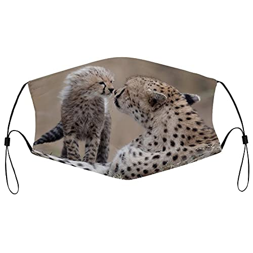 Cara de tela Ma_sks, reutilizable transpirable cara co-ver con 2 filtros pasamontañas ajustable protector bucal para hombres y mujeres, guepardo bebé animal depredador juego personalizado