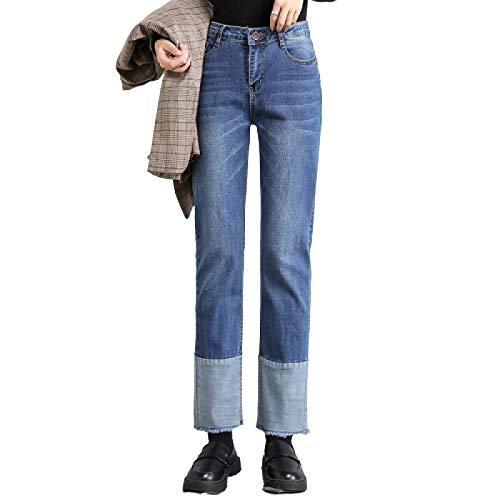 Katenyl Pantalones Vaqueros de otoño para Mujer, Moda, Personalidad, Costura, Cintura Alta, Desgastados, Rectos, Ajustados, Pantalones Casuales de Todo fósforo 27