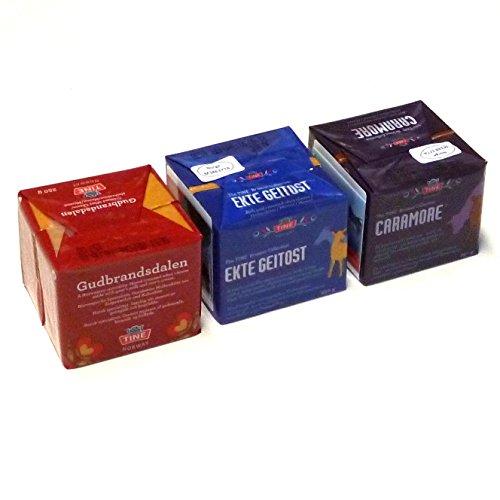 Gudbrandsdalen Ekte Geitost Garamore 3 x 250g Brunost Norwegen Trio KÜHLBOX-Versand mit Styroporbox und Spezialkühlakku für Lebensmittelversand
