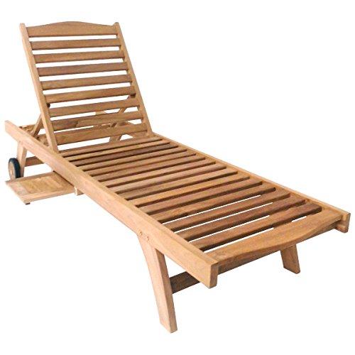 Charles Bentley Solid Wooden Teak Garden Patio Reclining Sun Lounger Sunbed