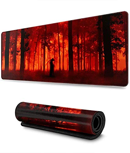 Horror Halloween Forest Gaming Mouse Pad XL,Extended Large Mouse Mat Desk Pad, Stitched Edges Mousepad,Long Non-Slip Rubber Base Mice Pad,31.5X11.8 Inch